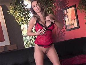 Jenna Presley takes it off leisurely to display off her ample bosoms and smoking assets